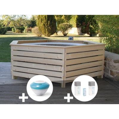 Pack Spa Gonflable Intex PureSpa Rond Bulles 4 Places + Habillage En Bois  AquaZendo + Enceinte