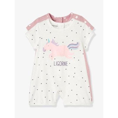 Lot de 2 pyjashorts bébé coton pressionné dos VERTBAUDET a99882f9197