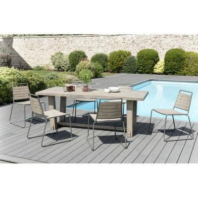Salon De Jardin Teck Acier Table 200x90cm 6 Chaises Empilables DETROIT Ref 30020824