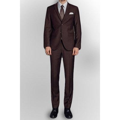 Pantalon de costume coupe droite Homme Marron