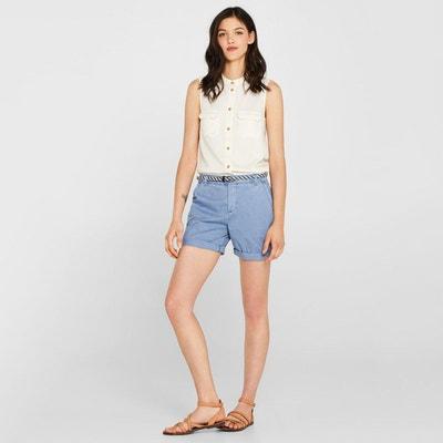 667a60c617755 Short chino uni avec ceinture taille standard Short chino uni avec ceinture  taille standard ESPRIT
