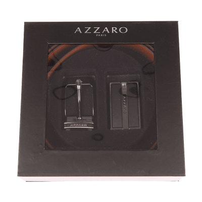 4f16a3cfebb Coffret ceinture ajustable en refente de cuir de vachette réversible tabac    boucle pleine gravée et. AZZARO