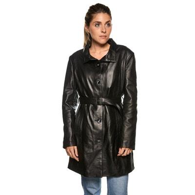 Manteau femme en cuir fourre