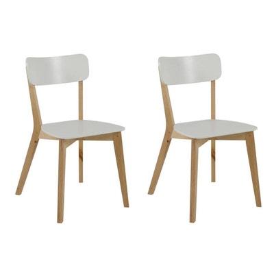 Chaise Design Bois Et Laque Blanc Lot De 2 LAENA MILIBOO