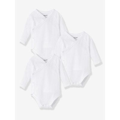 Lot de 3 bodies naissance pur coton blanc manches longues VERTBAUDET 48ec1271d0b
