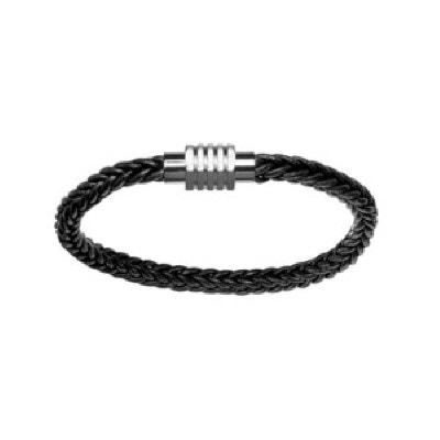 8d142fd32f5 Bracelet 20 cm Tressé Fermoir Aimanté Octogonal Cuir Acier SO CHIC BIJOUX. «