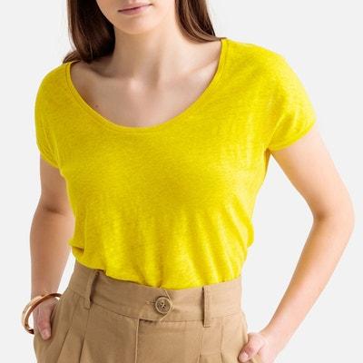 eebc182cc2a T-shirt en lin col rond T-shirt en lin col rond LA REDOUTE