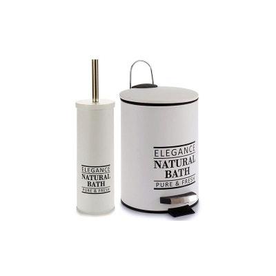 Attrayant Poubelle De Salle De Bain + Brosse WC Métal Blanc Natural Bath WADIGA