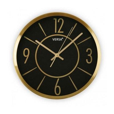 Horloge Murale Ronde en Aluminium Doré et Fond Noir VERSA 8ddf31332449