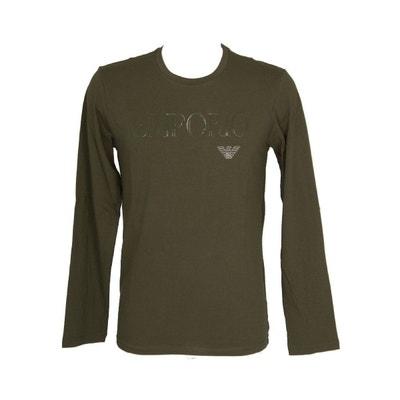 Tee-shirt manches longues col rond en coton stretch kaki floqué sur la  poitrine et. Soldes. EMPORIO ARMANI 72c208d8627
