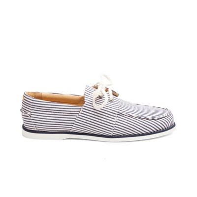 a180ceb7659473 Chaussures bateau en Coton Marin M. MOUSTACHE