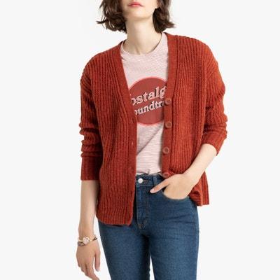 Vest met V-hals en knopen in grof tricot Vest met V-hals en knopen in grof tricot LA REDOUTE COLLECTIONS