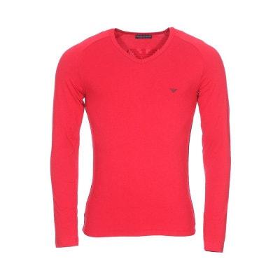 Tee-shirt manches longues col V en coton stretch à détails Tee-shirt  manches. Soldes. EMPORIO ARMANI b72ef12a63b