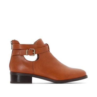 5cf92285c75195 Boots ouverte cheville avec bride et zip arrière Boots ouverte cheville  avec bride et zip arrière