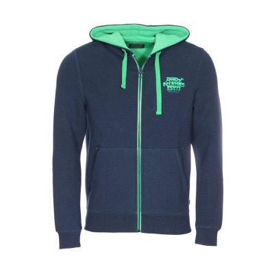 f5372404e6206 Sweat zippé en coton mélangé à détails contrastants verts PETROL INDUSTRIES