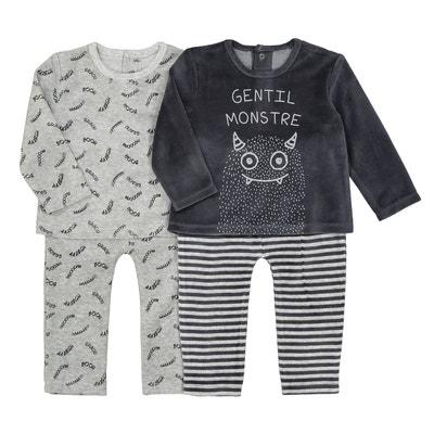 90fe5e045648c Lot de 2 pyjamas 2 pièces velours 1 mois-3 ans LA REDOUTE COLLECTIONS