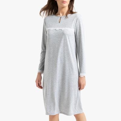 Camisa de dormir de mangas compridas, em gaze de algodão