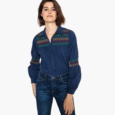 Camisa multicolor aos rufos sobre mas mangas e plastrão Camisa multicolor  aos rufos sobre mas mangas 09d6d0c3f55