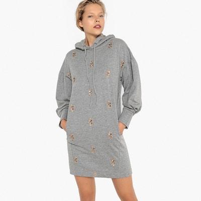 Vestido sudadera con capucha y bisutería bordada Vestido sudadera con  capucha y bisutería bordada LA REDOUTE 7d2bea9b4d68