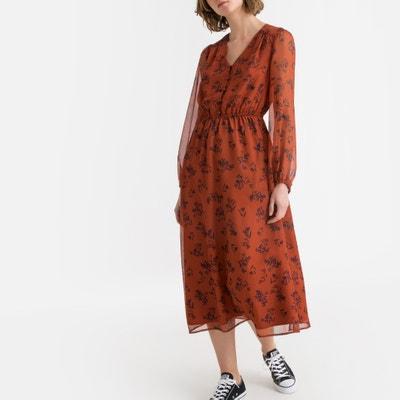 4eb979e7007 Платье-макси с цветочным рисунком и длинными рукавами Платье-макси с  цветочным рисунком и