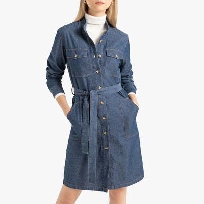 b743d31ffa9f438 Платье-рубашка из денима с длинными рукавами Платье-рубашка из денима с  длинными рукавами