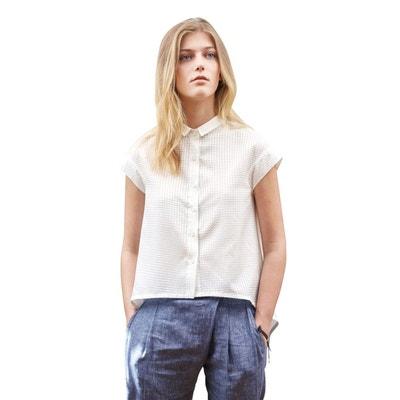 7313167394f9 Chemise blanche Femme décontractée manches courtes soie coton Chemise  blanche Femme décontractée manches courtes soie coton