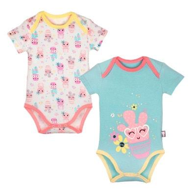 Lot de 2 bodies manches courtes bébé fille Cactus PETIT BEGUIN 793609735551