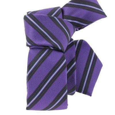 bdb8ceb3d69d0 Cravate en soie ATTORE, SLIM 5cm, rayée violet ATTORE