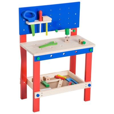 Etabli et outils pour enfants bois bleu rouge Etabli et outils pour enfants bois bleu rouge HOMCOM