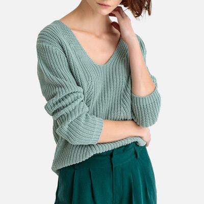 Pull scollo a V in maglia grossa cotone Pull scollo a V in maglia grossa  cotone 6a0439be006