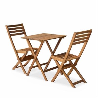 Salon De Jardin En Bois Bistrot Pliable Figueres Carre Table 60x60cm Avec Deux Chaises Pliantes