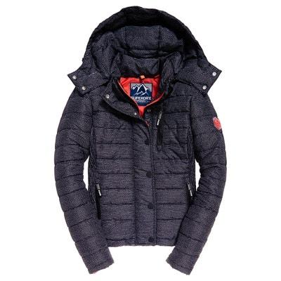 e149c9803f574 Zip-Up Short Hooded Padded Jacket SUPERDRY