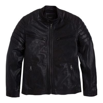 Blouson biker en cuir, court et zippé Blouson biker en cuir, court et zippé 7b813fa1365