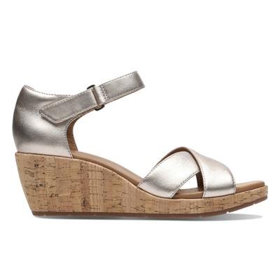 4e139a2f5085eb Un Plaza Cross Leather Wedge Sandals Un Plaza Cross Leather Wedge Sandals  CLARKS