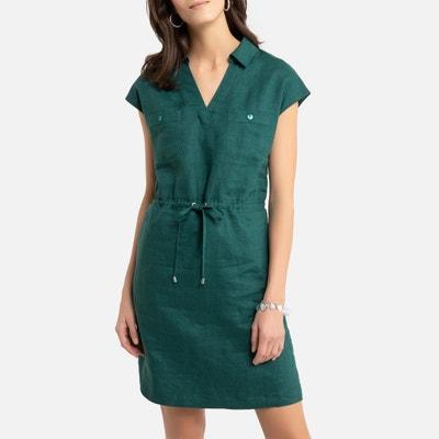 Rechte jurk in linnen met korte mouwen Rechte jurk in linnen met korte mouwen ANNE WEYBURN