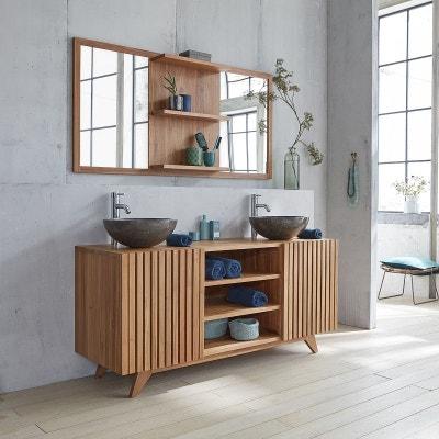 Meuble salle de bain bois brut | La Redoute