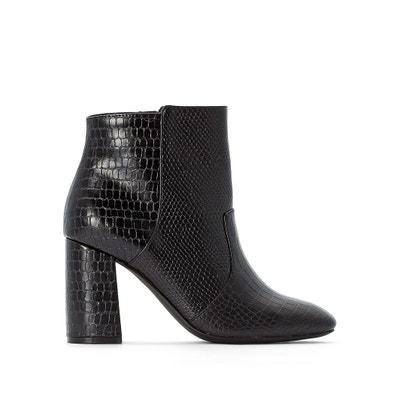Boots twee stoffen croco en hagedis, vierkante top Boots twee stoffen croco en hagedis, vierkante top LA REDOUTE COLLECTIONS