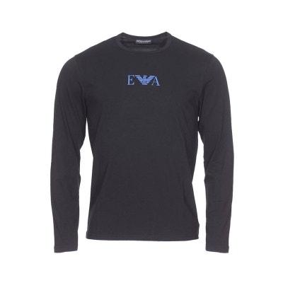 Tee-shirt manches longues col rond en coton stretch floqué du logo sur la  poitrine. Soldes. EMPORIO ARMANI b95bb4c90cc