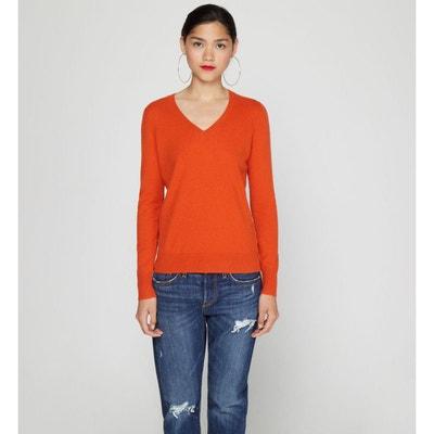 pull cachemire femme orange