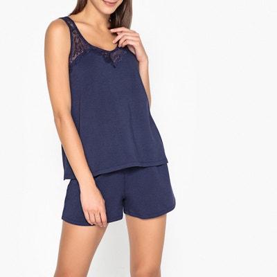 d9ebbe9897c4 Pijama con short de algodón y modal, detalle de encaje Pijama con short de  algodón