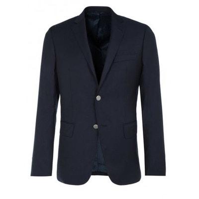 Blazer croisé en pure laine piquée bleu Bruce Field | La Redoute