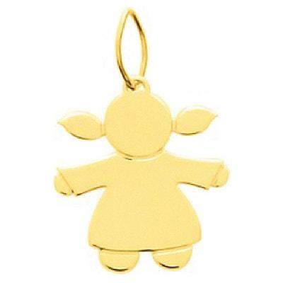 fe9bc0a0b6ed Pendentif Enfant Personnage Petite Fille Couettes   Robe Or Jaune 750 000  SO CHIC BIJOUX
