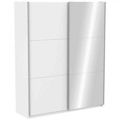 e7383ab0f747a1 Armoire 2 portes coulissantes avec miroir en bois blanc 180 cm - AR142  TERRE DE NUIT