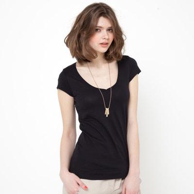 T-shirt col V, manches courtes, pur coton bio T-shirt col f07d45fd3d05