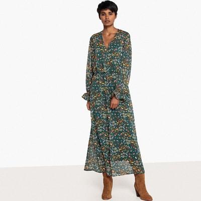 effet imprimée LA Robe longue effet blousant REDOUTE Robe imprimée fleurs blousant longue fleurs f0fUqz