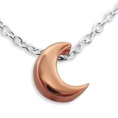 Collier Chaîne Longueur 45 cm Croissant Lune Argent 925   Vermeil (Or Rose  sur Argent. SO CHIC BIJOUX 8ba446c3799