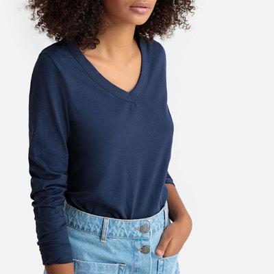 de2cac44a729b Tee shirt femme manche longue bleu marine