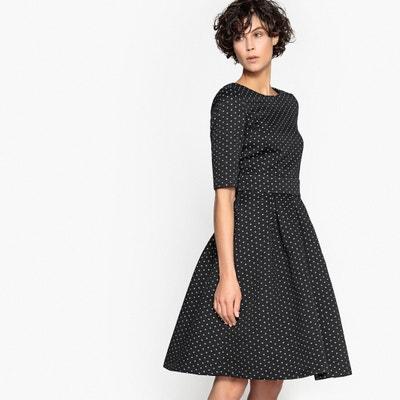 993d1ffc033 Платье расклешенное с жаккардовым рисунком в горох и красивой спинкой LA  REDOUTE COLLECTIONS