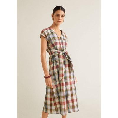 7f07c65f750 Robe lin à carreaux MANGO