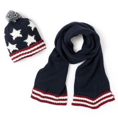 34d8b6991619 Bonnet et écharpe, lot bleu-blanc LA REDOUTE COLLECTIONS